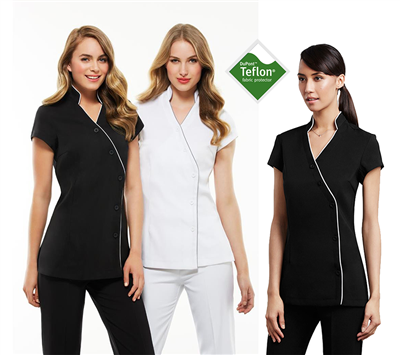 (SKU: H134LS) Ladies Zen Crossover Tunic - Black & White with Detail