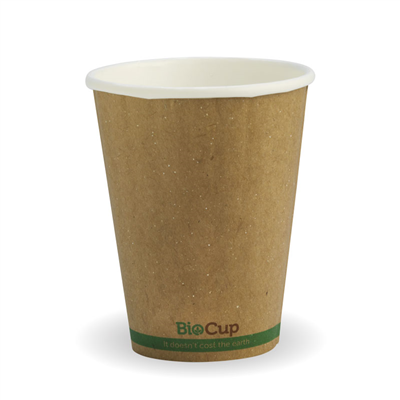 (SKU: BCK-8DW-GS) BioCups 8oz Double Wall Green Stripe 80mm