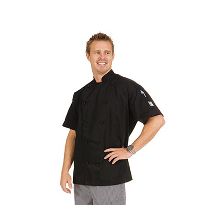 (SKU: 1105XS) **CLEARANCE** Three Way Air Flow Chef Jacket - Short Sleeve SZ XSMALL