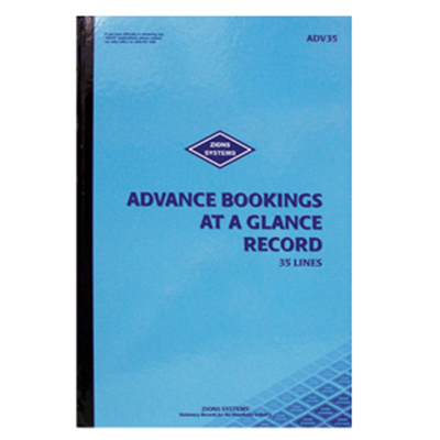 (SKU: ADV35) 35 Line Advance Bookings at a Glance Record