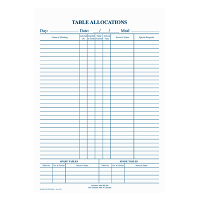 (SKU: TAP) Table Allocation Pad (Pack of 5)