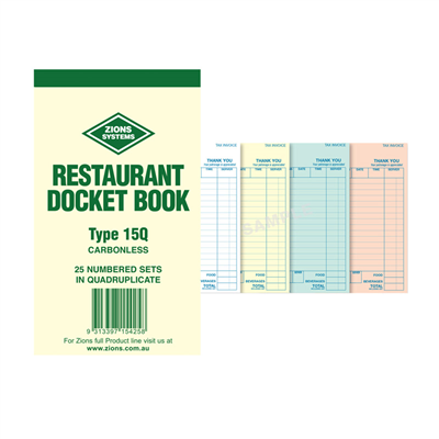 (SKU: 15Q) Basic Food & Beverage Quadruplicate Docket Book (Pack of 50)