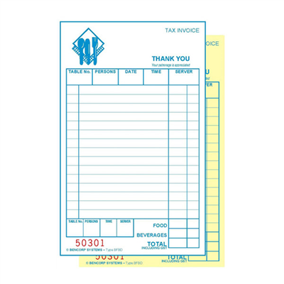 (SKU: BFBD) Basic Food & Beverage Duplicate Docket Book (Pack of 50)