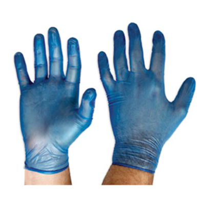 (SKU: DVBPF) Blue Vinyl Gloves, Powder Free