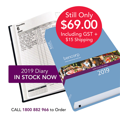 (SKU: RCD19) 2019 Restaurant and Catering Table Bookings Diary