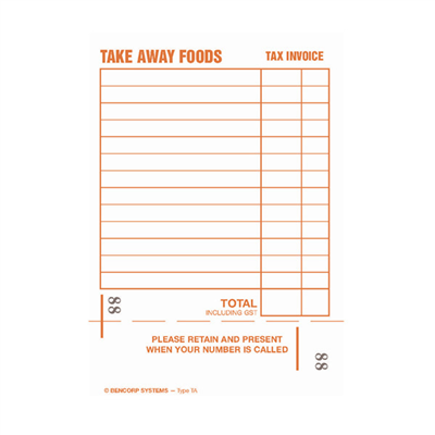 (SKU: TAD) Take Away Single Copy Docket Book (Pack of 50)