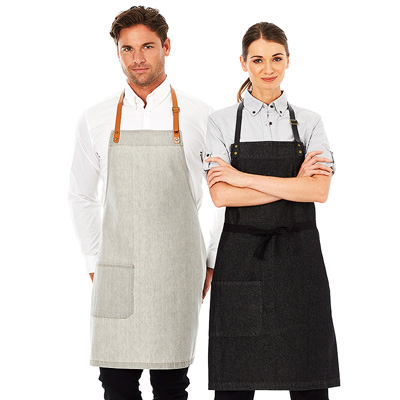 (SKU: Byron A19) Denim Bib Apron with Neck Strap - Byron Apron Package