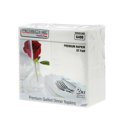 (SKU: 6400) Paper Dinner Napkins 2 Ply Ctn:10 packs