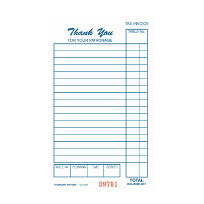 (SKU: 17SC) Food & Beverage Single Copy Docket Book (Pack of 50)