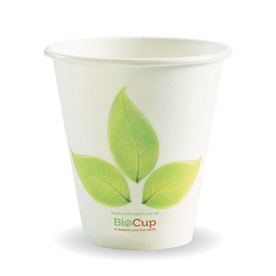 (SKU: BC-8 90mm) BioCups 8oz Single Wall Leaf Cups 90mm