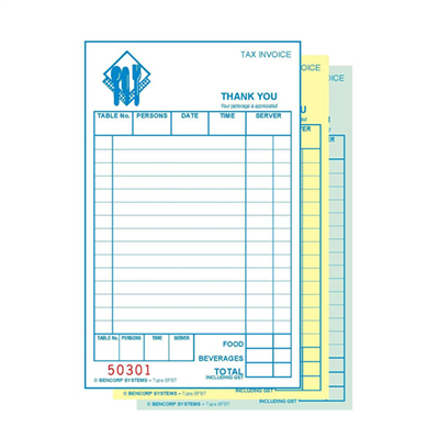 (SKU: BFBT) Basic Food & Beverage Triplicate Docket Book (Pack of 50)