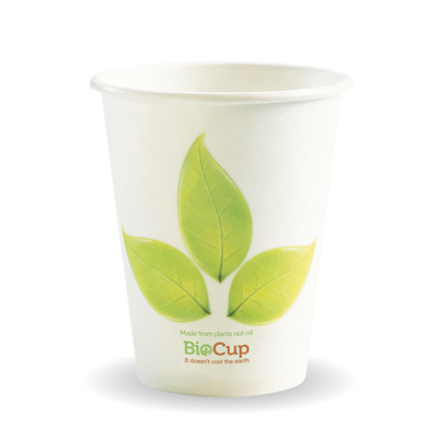 (SKU: BC-8 80mm) BioCups 8oz Single Wall Leaf Cups 80mm