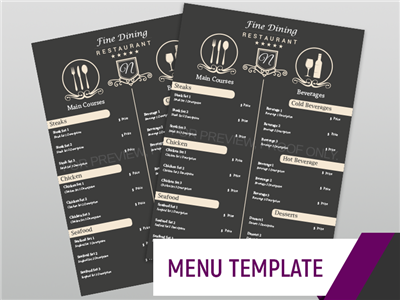 Menu Template - Fine Dining