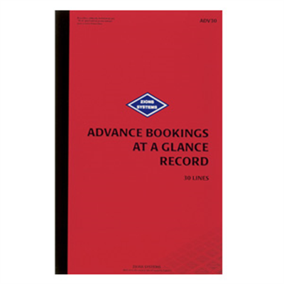 (SKU: ADV30) 30 Line Advance Bookings at a Glance Record