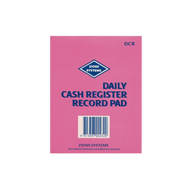 (SKU: DCR) Daily Cash Register Record Pad
