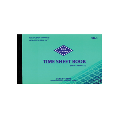 (SKU: 30AB) Time Sheet Book