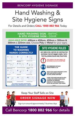 (SKU: SIGN) Site Hygiene & Hand Washing Sign - POA