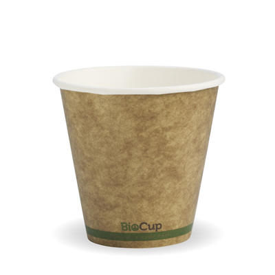 (SKU: BCK-8-GS(90)) BioCups 8oz Single Wall Green Stripe 90mm