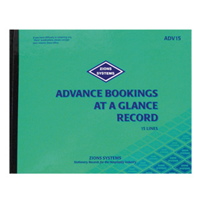 (SKU: ADV15) 15 Line Advance Bookings at a Glance Record