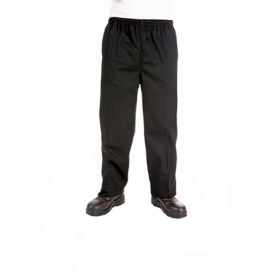(SKU: 1501) **CLEARANCE** Polyester/Cotton Drawstring Chef Pants SZ 4XL BLACK