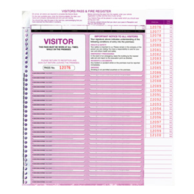 (SKU: CVSFR) Visitors Pass Register