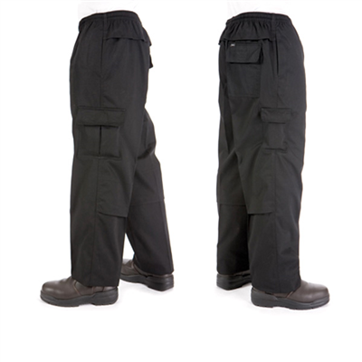 (SKU: 1506) Polyester/Cotton Drawstring Cargo Chef Pants